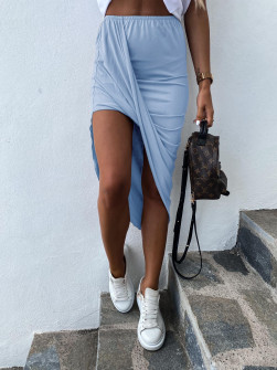 Γυναικεία ασύμμετρη φούστα 5134 γαλάζια