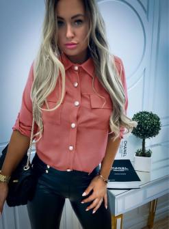 Γυναικείο πουκάμισο με εντυπωσιακά κουμπιά 3741 κοραλί