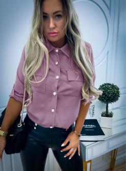 Γυναικείο πουκάμισο με εντυπωσιακά κουμπιά 3741 λιλά