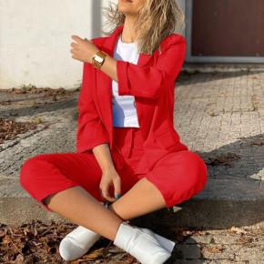 Γυναικείο σετ σακάκι και παντελόνι 5012 κόκκινο