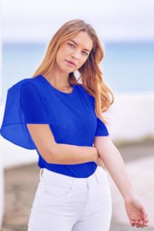 Γυναικεία μπλούζα με μανίκι σιφόν 5072 μπλε