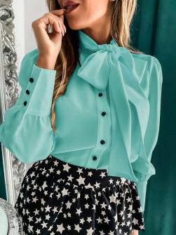 Γυναικείο πουκάμισο με φιόγκο 3919 μέντα