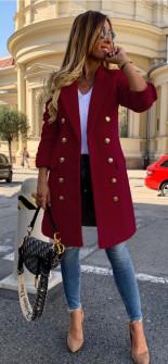 Γυναικείο παλτό με κουμπιά από τις δύο πλευρές και φόδρα 3828 μπορντό