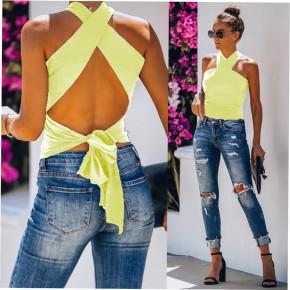 Εξώπλατη χιαστή μπλούζα με cups 2333 κίτρινη