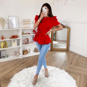 Γυναικεία μπλούζα με ζώνη 3280 κόκκινη
