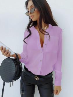 Γυναικείο μονόχρωμο πουκάμισο 3295 λιλά