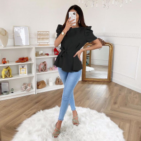 Γυναικεία μπλούζα με ζώνη 3280 μαύρη