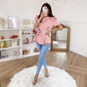 Γυναικεία μπλούζα με ζώνη 3280 ροζ