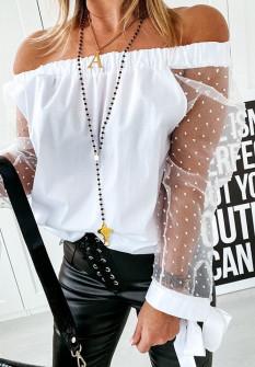 Γυναικεία μπλούζα με μανίκι τούλι 23228 άσπρο