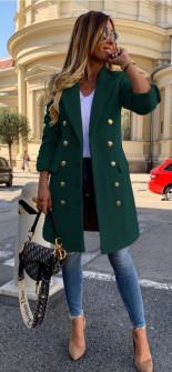 Γυναικείο παλτό με κουμπιά από τις δύο πλευρές και φόδρα 3828 σκούρο πράσινο