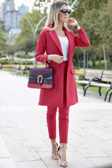 Γυναικείο σετ σακάκι και παντελόνι 3311 κόκκινο