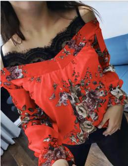 Γυναικεία μπλούζα με δαντέλα 3976 κόκκινη