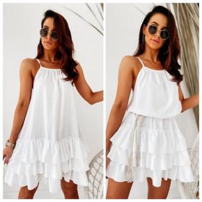 Γυναικείο φόρεμα με εντυπωσιακό κάτω μέρος 5111 бяла