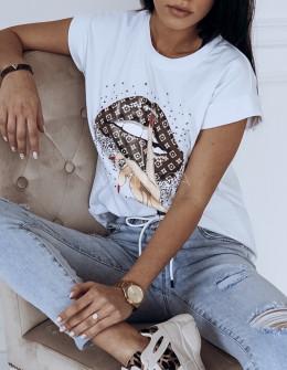 Γυναικείο κοντομάνικο μπλουζάκι 7451 λευκό