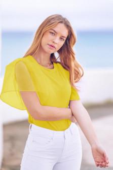 Γυναικεία μπλούζα με μανίκι σιφόν 5072 κίτρινη