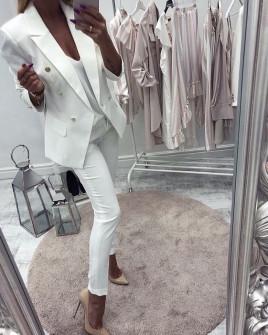 Γυναικείο σετ σακάκι και παντελόνι 2637 λευκό