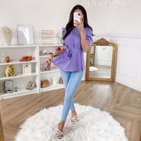 Γυναικεία μπλούζα με ζώνη 3280 μωβ