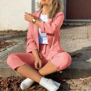Γυναικείο σετ σακάκι και παντελόνι 5012 κοραλί