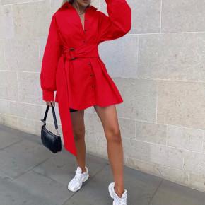 Γυναικεία πουκαμίσα με ζώνη 5023 κόκκινο