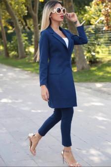 Γυναικείο σετ σακάκι και παντελόνι 3311 σκούρο μπλε