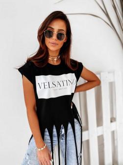 Γυναικείο μπλουζάκι με κρόσσια 2330 μαύρο