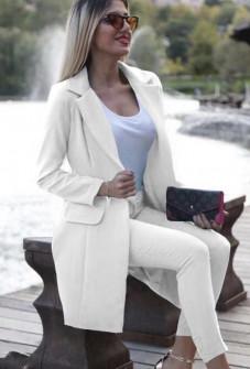 Γυναικείο σετ σακάκι και παντελόνι 3311 άσπρο