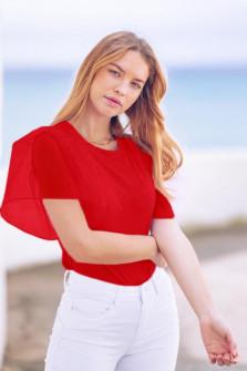 Γυναικεία μπλούζα με μανίκι σιφόν 5072 κόκκινη
