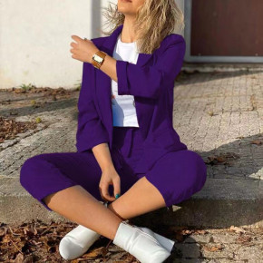 Γυναικείο σετ σακάκι και παντελόνι 5012 μωβ