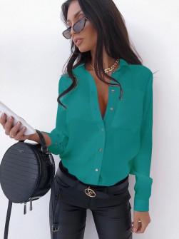 Γυναικείο μονόχρωμο πουκάμισο 3295 τυρκουάζ