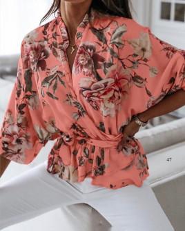 Γυναικεία μπλούζα με κορδόνι στη μέση 5033 κοραλί