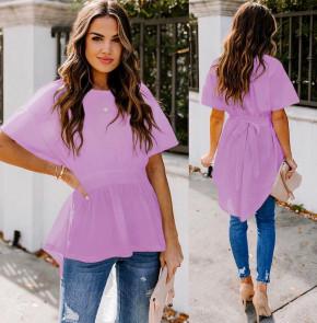 Γυναικείο μπλουζοφόρεμα με κορδόνι 5063 λιλά