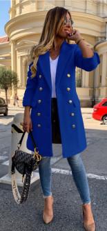 Γυναικείο παλτό με κουμπιά από τις δύο πλευρές και φόδρα 3828 μπλε ρουά