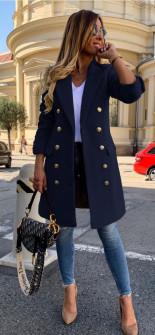 Γυναικείο παλτό με κουμπιά από τις δύο πλευρές και φόδρα 3828 σκούρο μπλε