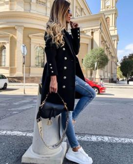 Γυναικείο παλτό με κουμπιά από τις δύο πλευρές και φόδρα 3828 μαύρο