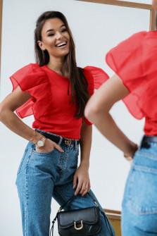 Γυναικεία μπλούζα με μανίκι τούλι 1972 κόκκινη