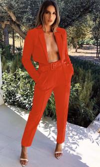 Γυναικείο σετ παντελόνι και κοντό σακάκι 3991 κόκκινο