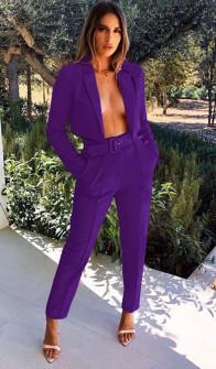 Γυναικείο σετ παντελόνι και κοντό σακάκι 3991 μωβ