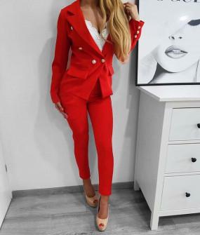 Γυναικείο σετ σακάκι και παντελόνι 2637 κόκκινο
