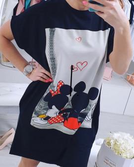 Γυναικείο μπλουζοφόρεμα με print 2061 μαύρο