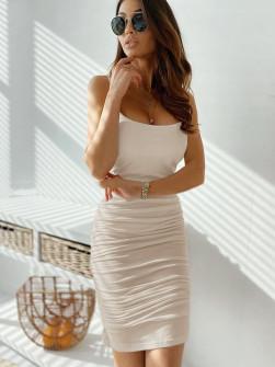 Γυναικείο φόρεμα με σούρες 5118 μπεζ