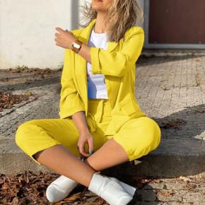 Γυναικείο σετ σακάκι και παντελόνι 5012 κίτρινο