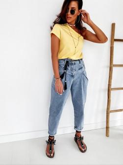 Γυναικεία μπλούζα με ένα μανίκι 5093 κίτρινο