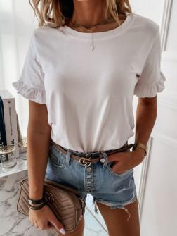 Γυναικεία μπλούζα με εντυπωσιακό μανίκι 5094 άσπρο
