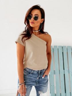 Γυναικεία μπλούζα με ένα μανίκι 5093 μπεζ