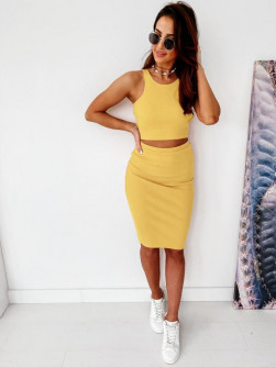 Γυναικείο σετ φούστα και τοπάκι 2345 κίτρινο