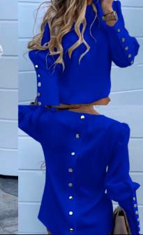 Γυναικείο πουκάμισο με χρυσά κουμπιά 382001 μπλε