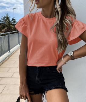 Γυναικεία μπλούζα με εντυπωσιακό μανίκι 5094 κοραλί