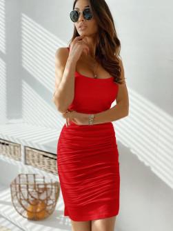 Γυναικείο φόρεμα με σούρες 5118 κόκκινο