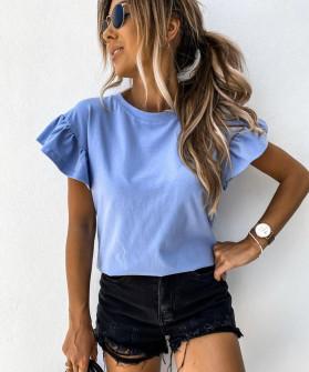Γυναικεία μπλούζα με εντυπωσιακό μανίκι 5094 γαλάζιο