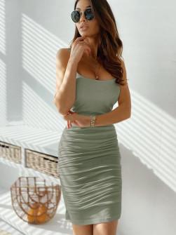 Γυναικείο φόρεμα με σούρες 5118 ανοιχτό πράσινο